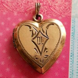 Vintage gold filled heart locket as is DL engraved
